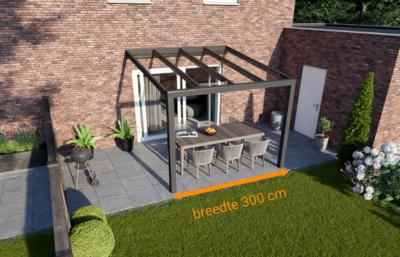 veranda nice en easy antraciet glas 300x250 cm breedte