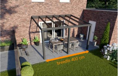 veranda nice en easy antraciet glas 400x330 cm breedte