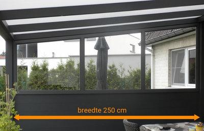 aluminium zijwand nice en easy borstwering glas 250 cm breedte